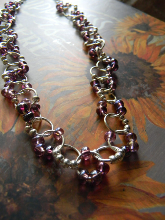 Glass Beaded Linked Necklace