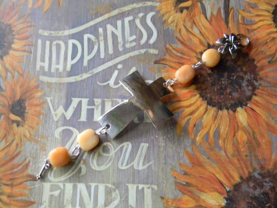 Silver Cross Silver Finish Lead Free Pewter Bracelet with Glass Beads