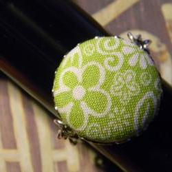 Bezel Setting Fabric Button Ring