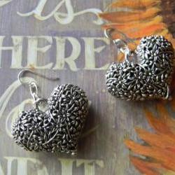 SIlver Puffy Heart Flowered Earrings