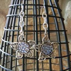 Silver Flower with Swarovski Crystal Earrings